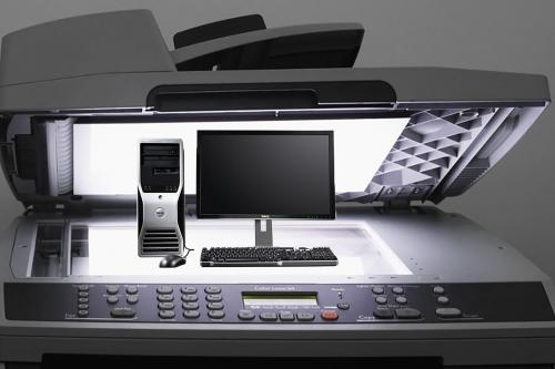 Image of Desktop Computer on a copier bed